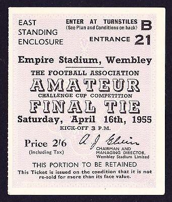 1955 FA Amateur Cup Final BISHOP AUCKLAND v HENDON *VG Condition Ticket*
