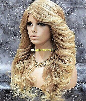 - Long Loose Wavy Golden Bleach Blonde Mix Lace Front Full Wig Heat Ok Hair Piece