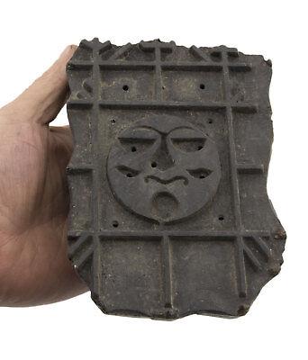 Stamp Pad Antique Batik Wood Carved Printing Fabric Batik 15cm India 1020