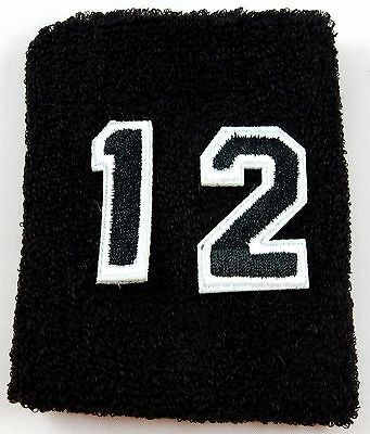 ONE Custom Number Black White Wristband Sweatband Football Baseball Basketball