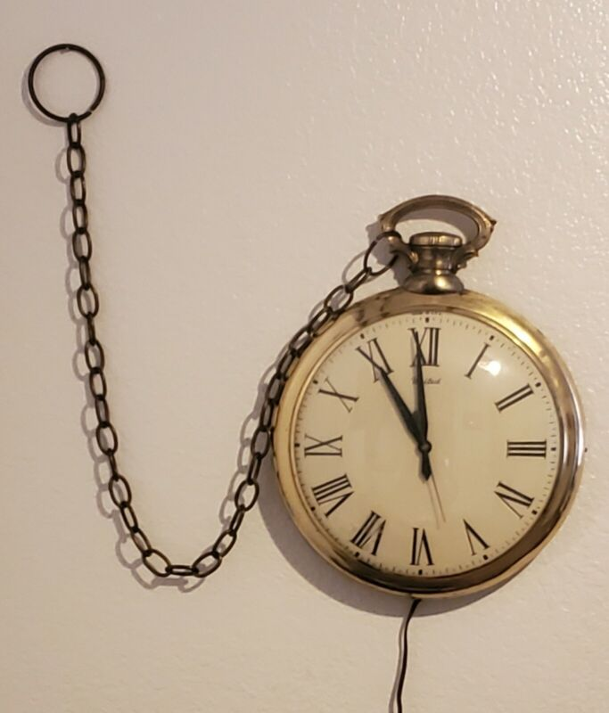 Vintage United Pocket Watch Wall Clock no. 40 Large Works Great