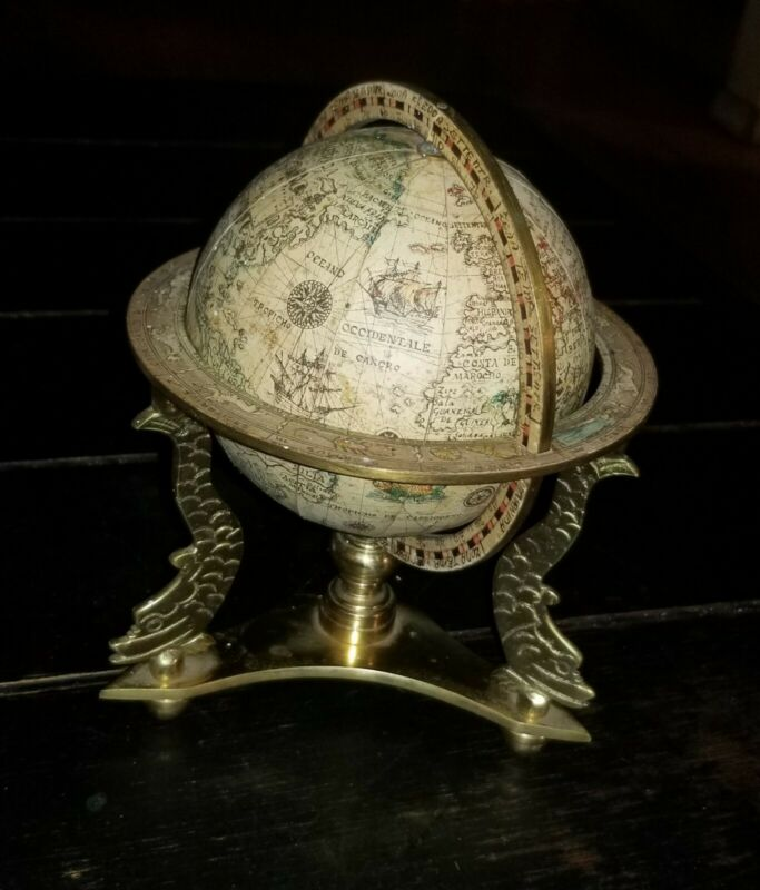 Vintage Italian Wood, Paper and Brass Table Globe