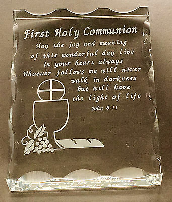 First Holy Communion Crystal Plaque With Engraved Bible Verse John:811, New - Communion Verse