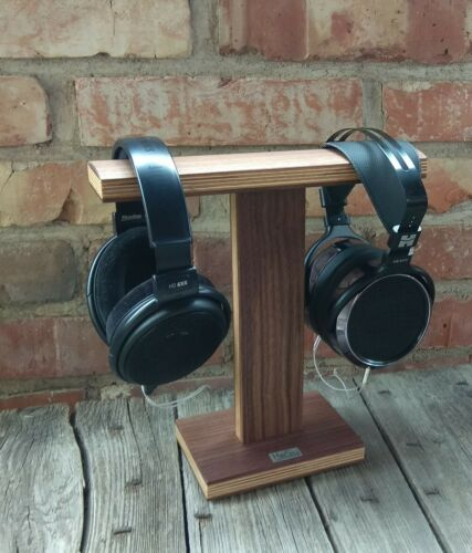 Dual Headphone Stand HeSy handmade from solid walnut wood with birch plywood