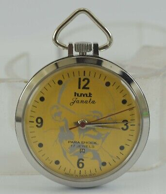 Vintage HMT Janata 17J Winding Pocket Watch For Unisex Use Working Good D-3-10