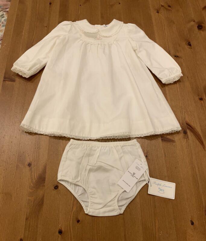 Ralph Lauren Girls 18M Lined 2 Pc Ivory Dress Lace Trim NWT