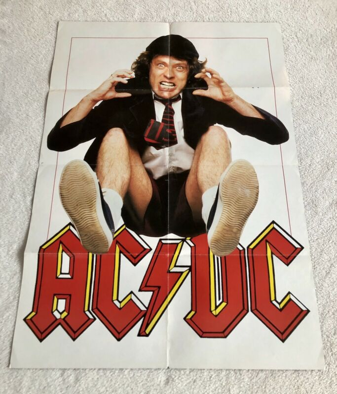 AC/DC 1991 ANGUS YOUNG Large Poster Music Magazine Vintage 1990s
