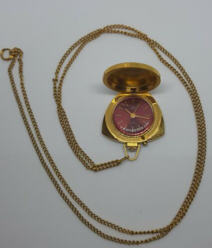 USSR  Russian Gold Plated  Mechanical  pendant necklace Women