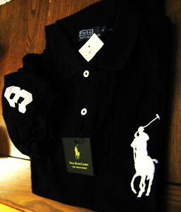New-Ralph-Polo-Lauren-Mens-Big-Black-Pony-Polo-M-Medium-Shirt
