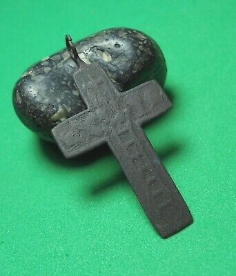 Ancient Bronze Cross Wearable Pendant Antique Rare C192
