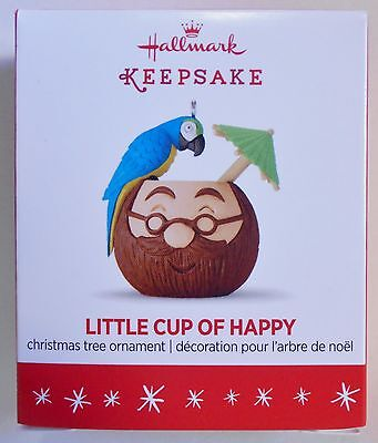 "2016 Hallmark Miniature Ornament ""A Little Cup of Happy"" Parrot MIB"