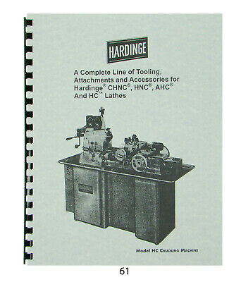 Hardinge Tooling Attachments For Models Chnc Hnc Ahc Hc Lathes Catalog61