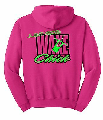 Rose Just Ride Wake Fille Sweat Capuche Pull T-Shirt Ski Nautique Bateau Femmes ()