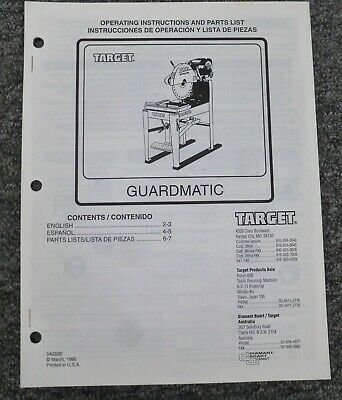 Target C6754 C6755 Guardmatic Masonry Saw Parts Catalog Owner Operator Manual
