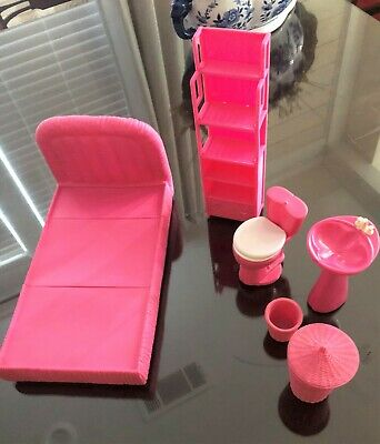 Barbie PINK Furniture Bed, Sink, Toilet, Trash Can etc 1994 M.T.H.K
