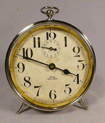 Antique Big Ben Peg Leg Alarm Clock - E- Runs & Looks Great -1919 Model-BEST