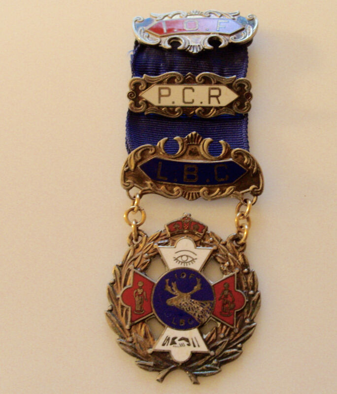 STERLING SILVER INDEPENDANT ORDER OF  FORESTERS  PIN IOF PCR LBC ON RIBBON