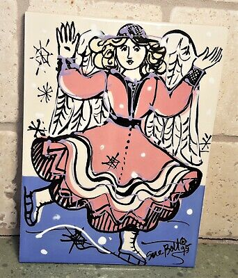 Artist Sue Bolt Signed PAINTED TILE 7.75 X 5.75 Woman Lady SKATING In Dress - $14.99