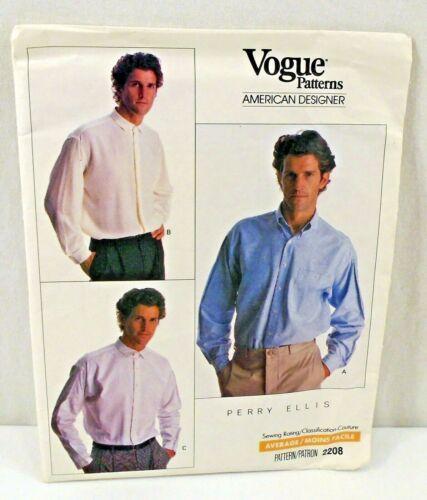 Vintage Vogue Pattern 2208 American Designer Perry Ellis Mens Dress Shirts Uncut