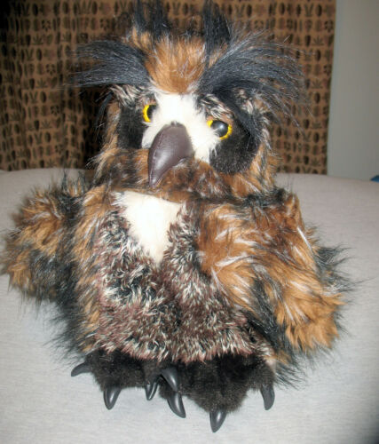 """Folkmanis Hand Puppet Great Horned Owl with Movable Head 12"""""""