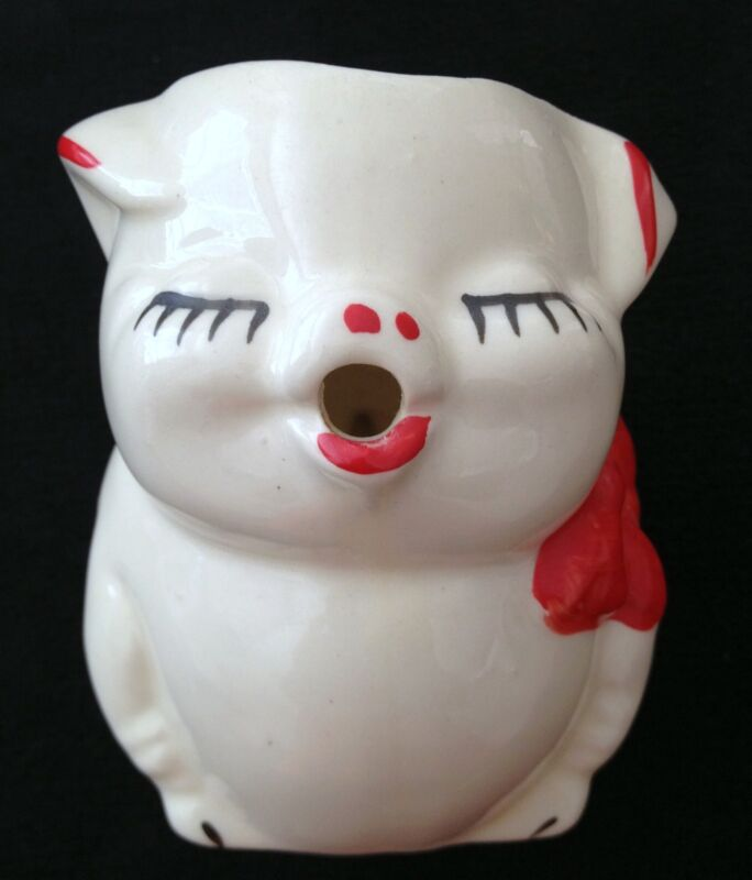 Bisque Pottery Pitcher Creamer Smiling Pig Red Bow American RARE Vintage
