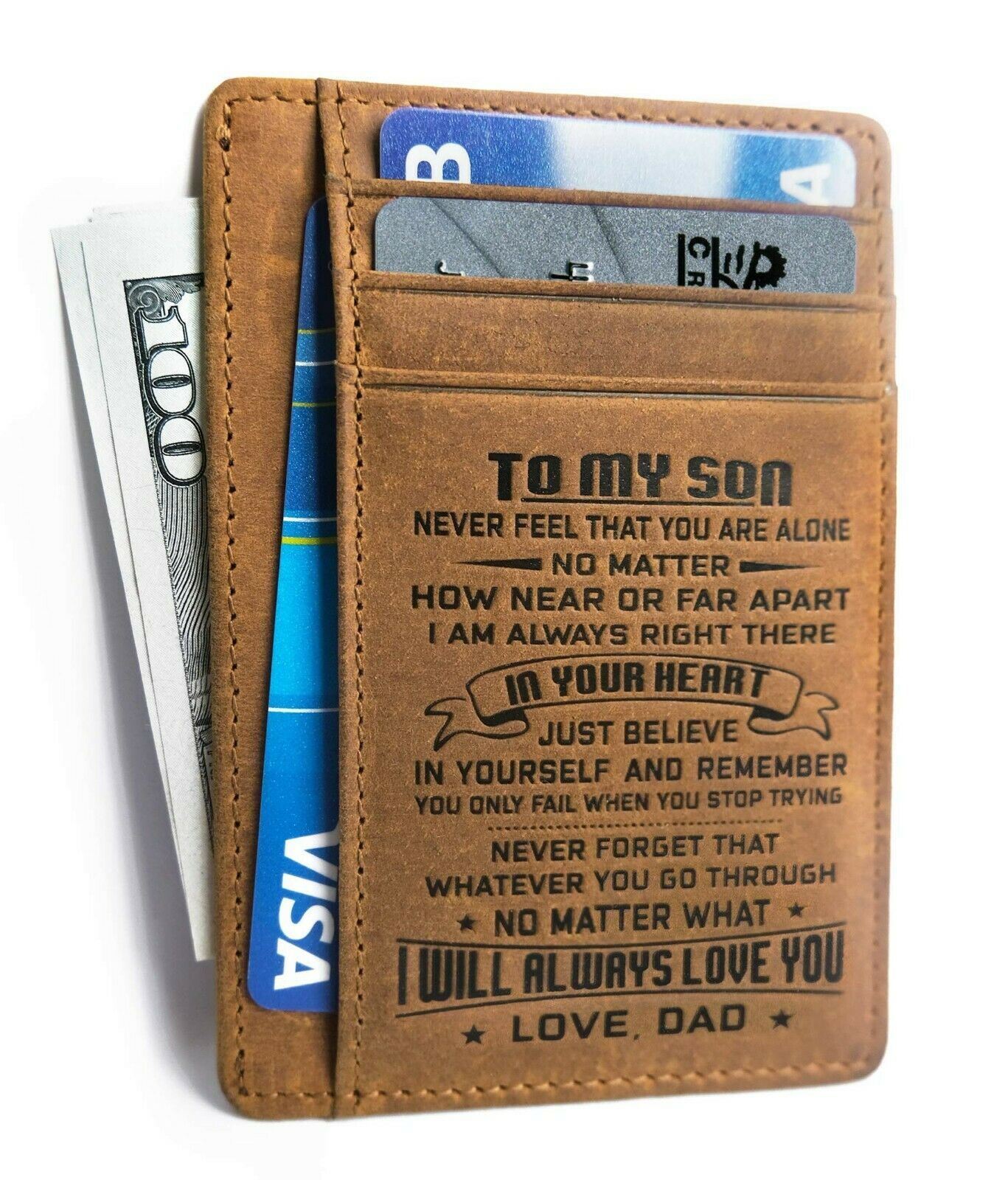 To My Son Minimalist Wallet Gift from Dad Mom Slim Leather C