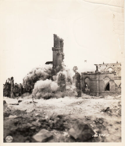 WORLD WAR ll ~ NORMANDY ~ BOMB EXPLOSION INSIDE TOWN - 1944