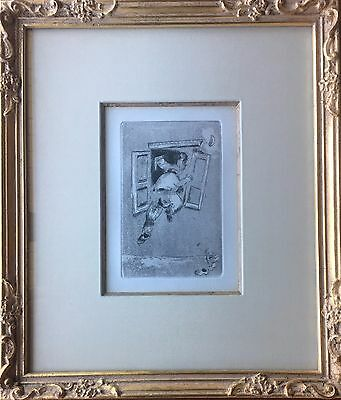 Marc Chagall - Original Etching - La viste par la penêtre, from Maternite, 1926