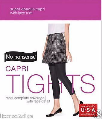 NO NONSENSE BLACK FOOTLESS TIGHTS ADULT SIZE M MADE IN USA FREE USA SHIP LEGS Footless Adult Tights