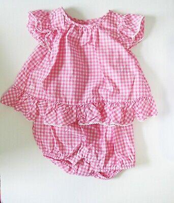 Ralph Lauren Baby Girls Gingham Romper Shortall Pink Multi Sz 9M - NWT