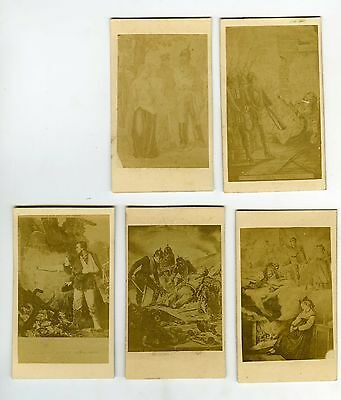 PHOTO CDV dos nu Guerre FRANCO-PRUSSE 1870 lot de 5 cartes d'après dessin