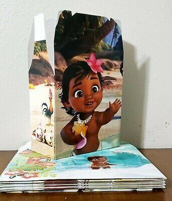 10 Moana Party Favor Box Treat Bags Loot Goodie Bags Party Supplies
