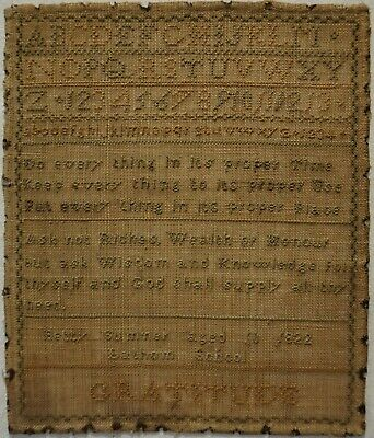 """SMALL EARLY 19TH CENTURY """"GRATITUDE"""" SAMPLER BY BETTY SUMNER AGED 10 - 1822"""