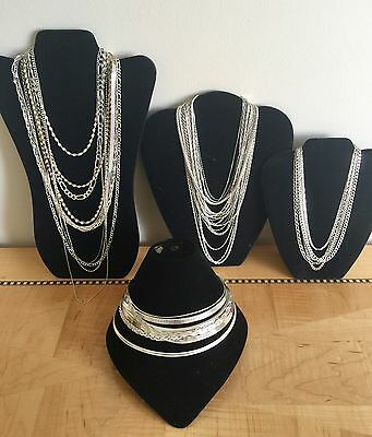 HUGE JEWELRY LOT STERLING SILVER NECKLACES 460.4 Grams Solid Over 1 Pound