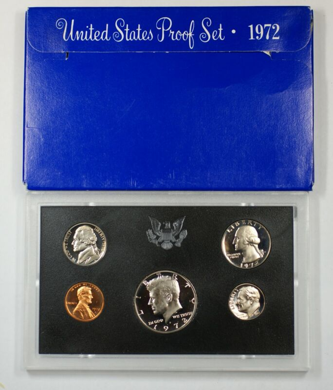 1972 US Mint Proof Set 5 Gem Coins as Issued