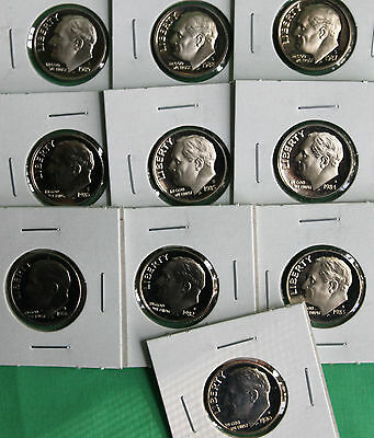 1980 - 1989 PROOF ROOSEVELT DIME COIN COLLECTION FROM US MINT PROOF SET 10 COINS