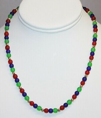 Frosted Glass Bead Necklace Red Blue Green Gold Tone Spacers 18 Inches Strand
