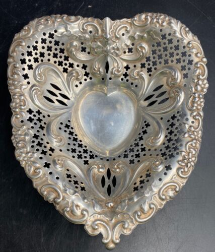VINTAGE GORHAM STERLING SILVER FILIGREE FOOTED HEART  DISH Over 9 troy ounces