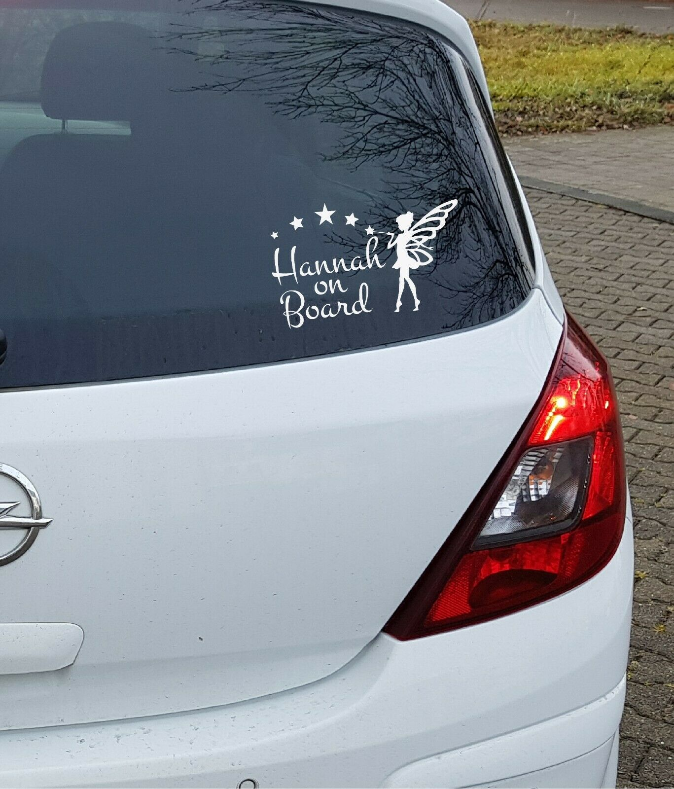 Aufkleber Wunschname on Board Auto an Bord Fee Elfe Baby Kinder