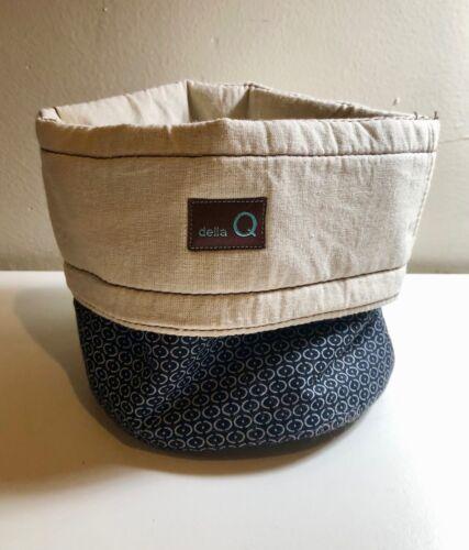 Della Q CUTE!! Small Yarn Caddy Knitting Crochet Bag Bowl*navy blue batik dot