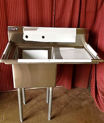 New 18x18 1 Compartment Prep Sink Right Side Drain Board Stainless Nsf 1002