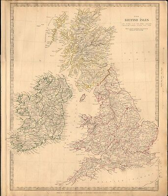 1842 ANTIQUE MAP- SDUK - THE BRITISH ISLES