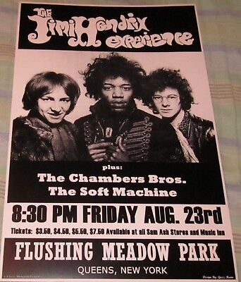 JIMI HENDRIX FLUSHING MEADOW PARK 1968 REPLICA CONCERT POSTER W/PROTECTIVE SLV