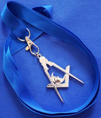 Masonic Collar SILVER Jewel JUNIOR DEACON with Blue NECK Strap by DEURA USA