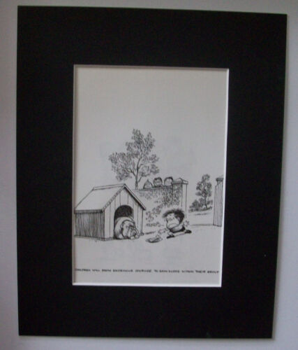 Child Cartoon Print Norman Thelwell Show Courage Bookplate 1977 8x10 Matted