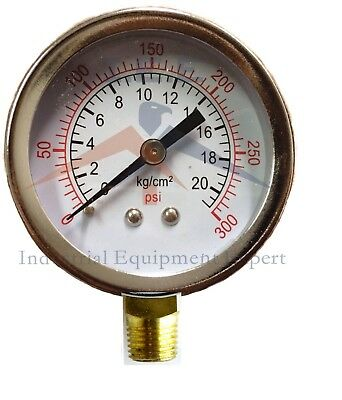 Air Compressor Pressure Hydraulic Gauge 2 Face Side Mount 14 Npt 0-300 Psi