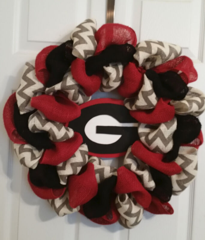 Georgia Bulldogs Football  Burlap  Door Wreath 24""