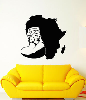 Vinyl Wall Decal Africa Continent Map African Girl Turban Stickers -