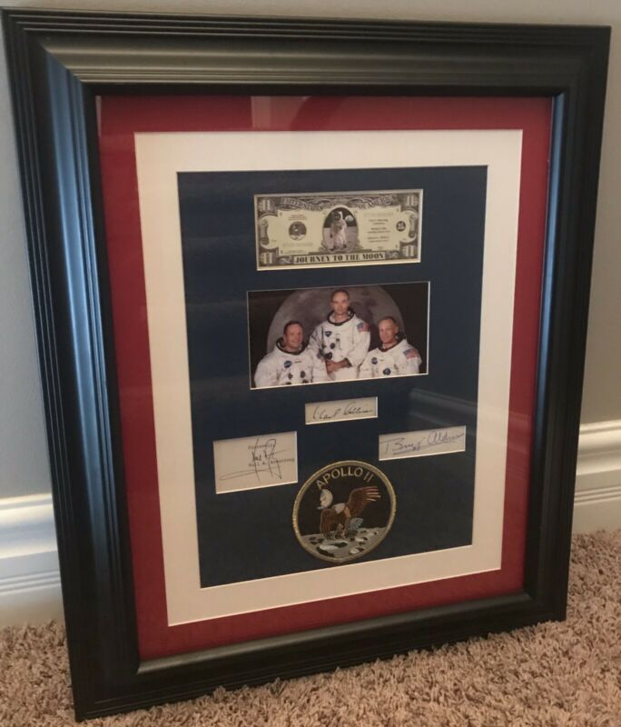 APOLLO 11 Signed, Matted, and Framed Neil Armstrong, Collins, & Aldrin JSA Auth