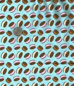 Ice-Cream-Sandwiches-Blue-Novelty-Food-Candy-Jar-Quilt-Fabric-Fat-Quarter-FQ-FQs